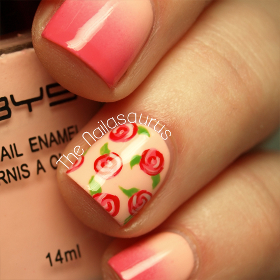 Freehanded Roses Wedding Nails
