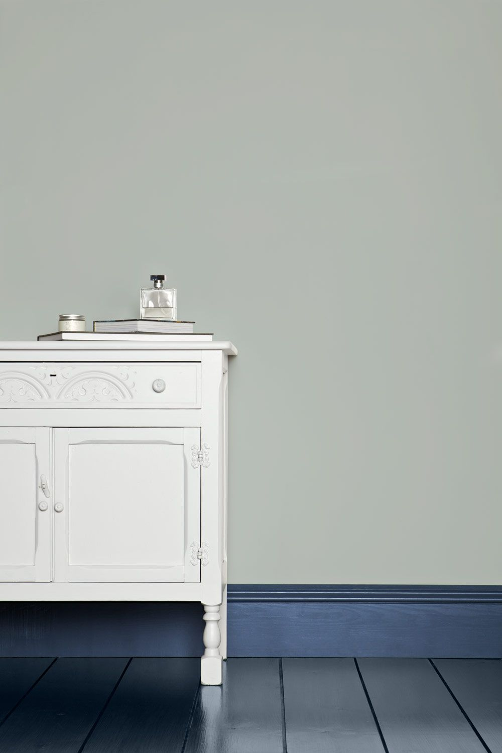 Painted painted in Skylight, by Farrow & Ball, blue-gray