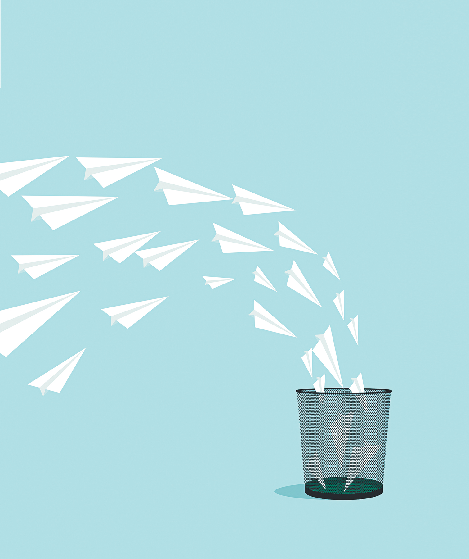 Illustration: paper airplanes flying into bin