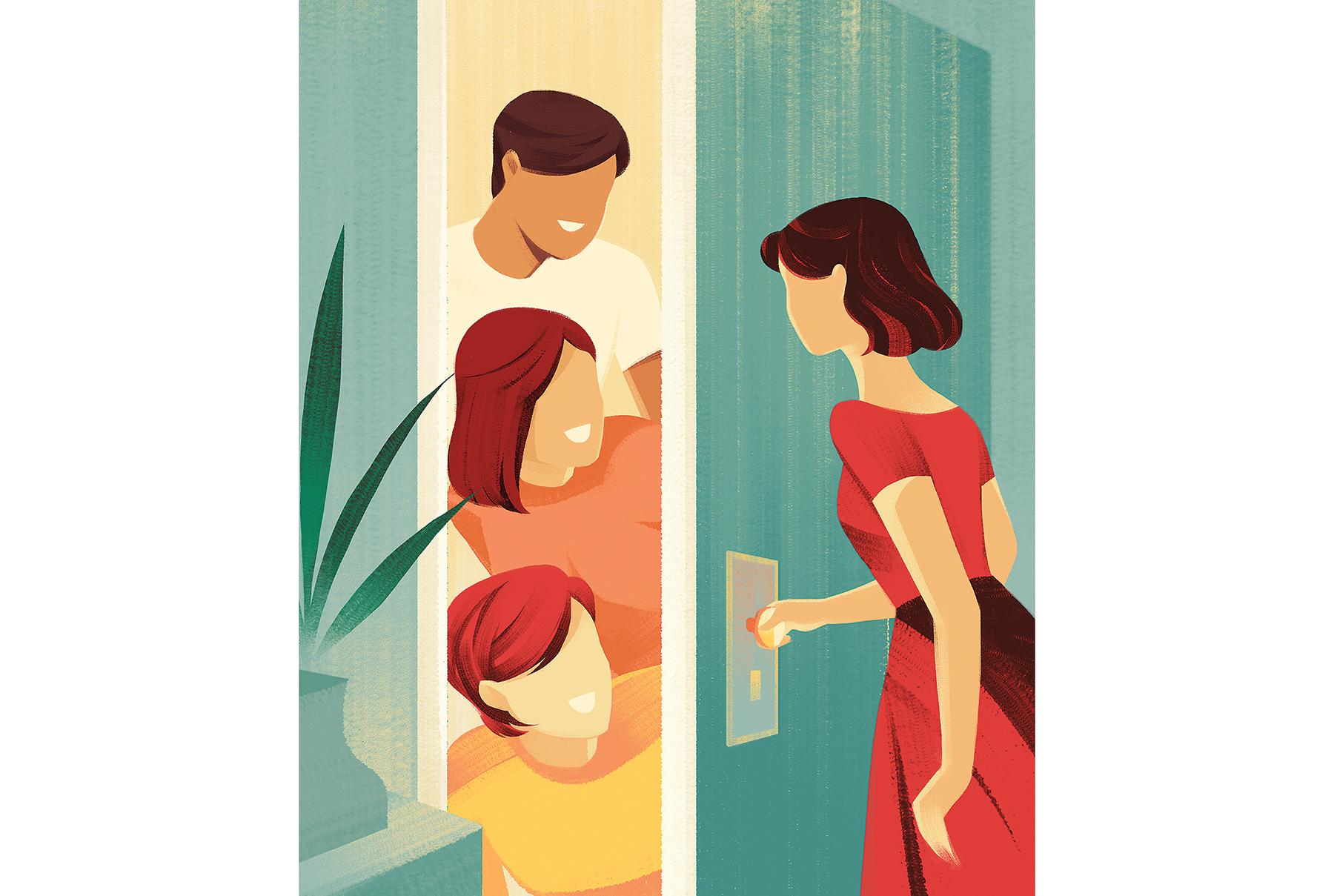 Illustration: woman opening the door to 3 adult siblings