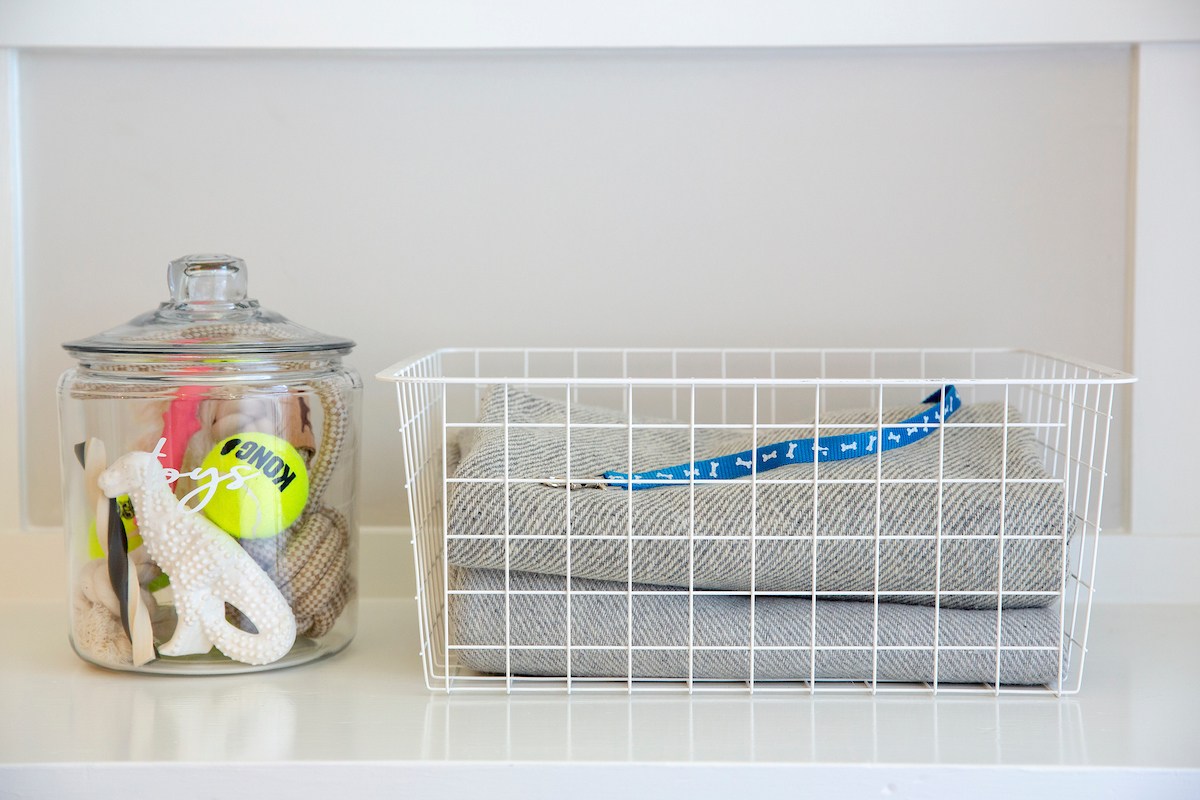 Pet supplies in jars and basket