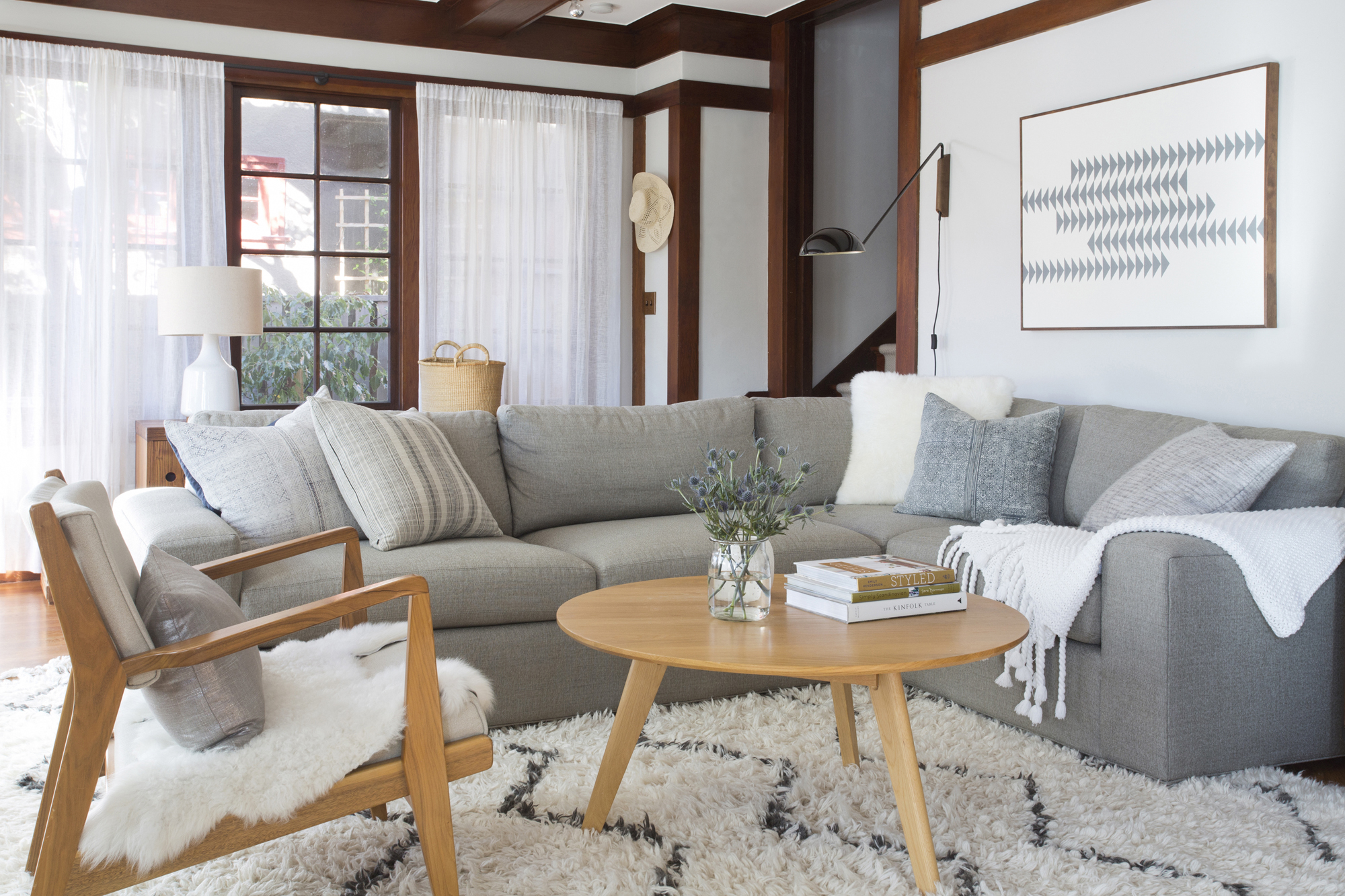 Tidy living room with couch and rug