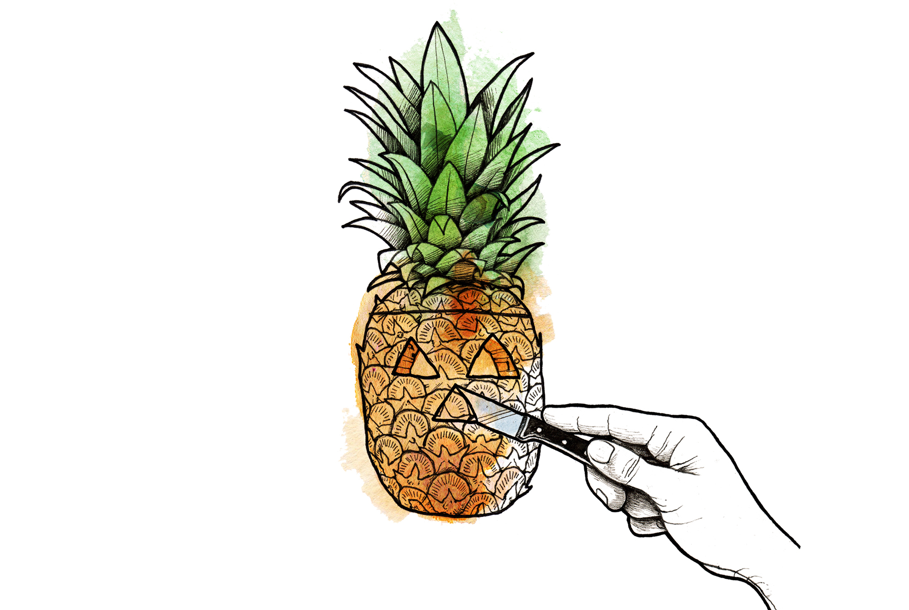 Illustration: Carving a pineapple (How to carve pineapple jack-o-lantern - Carve the Face)