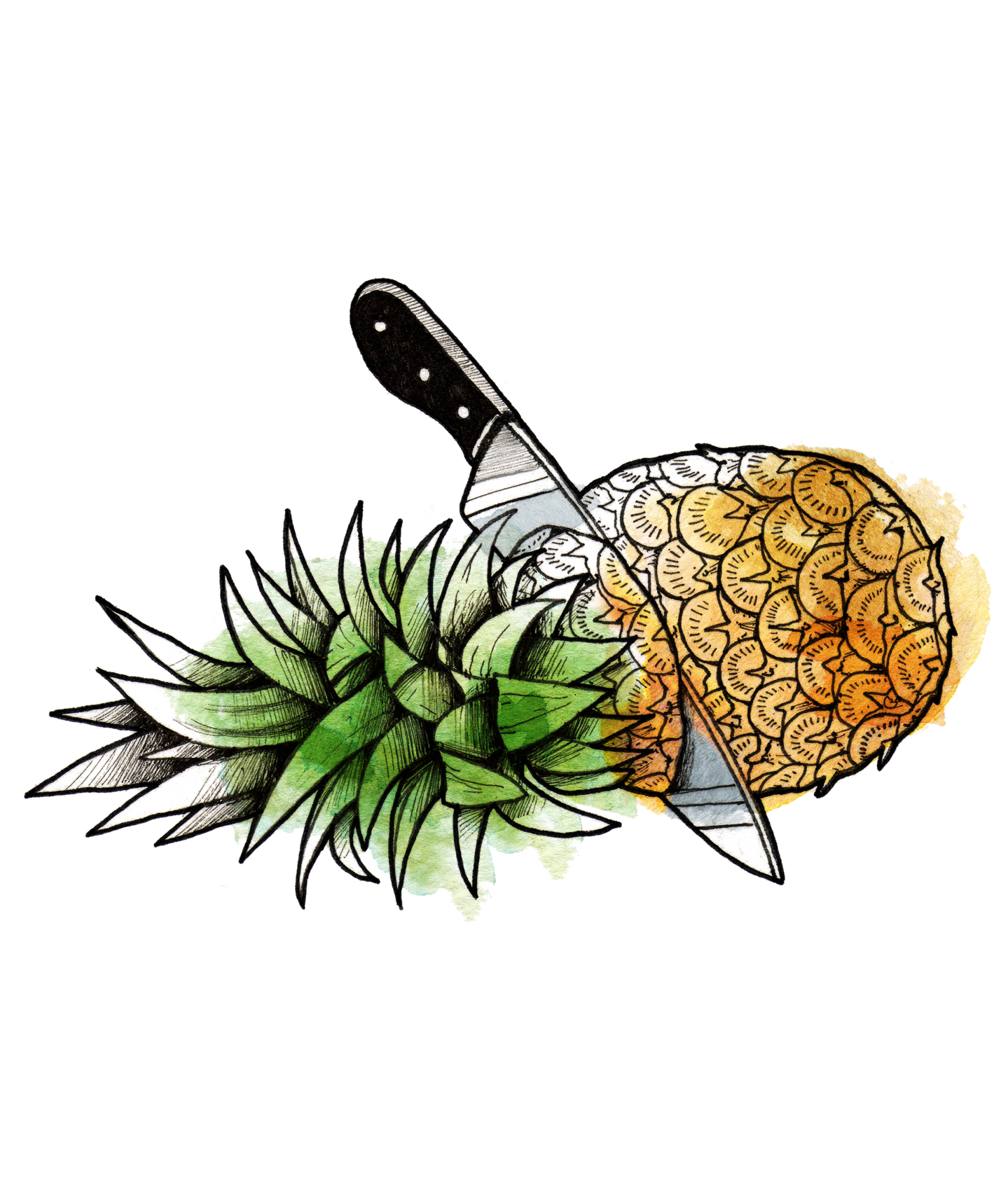 Illustration: Prepping a pineapple (How to carve pineapple jack-o-lantern - Prep the Fruit)