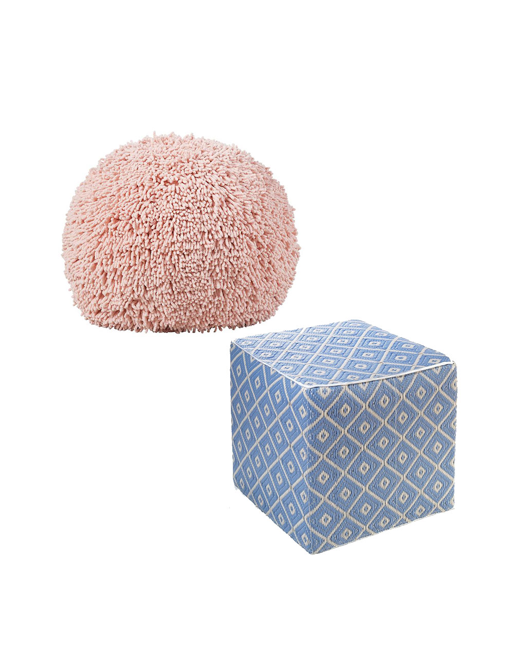 Pink and blue poufs