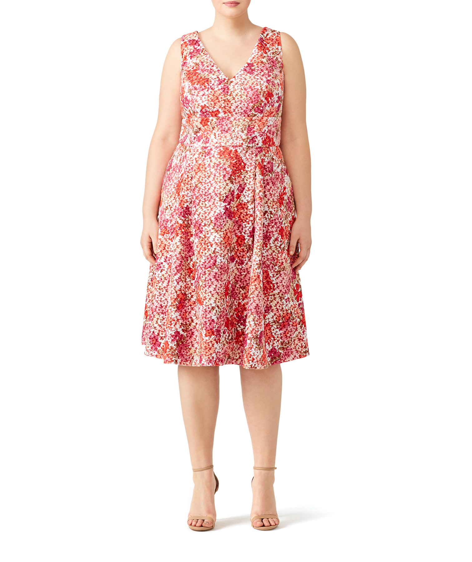 ML Monique Lhuillier Pink Floral Dress on model