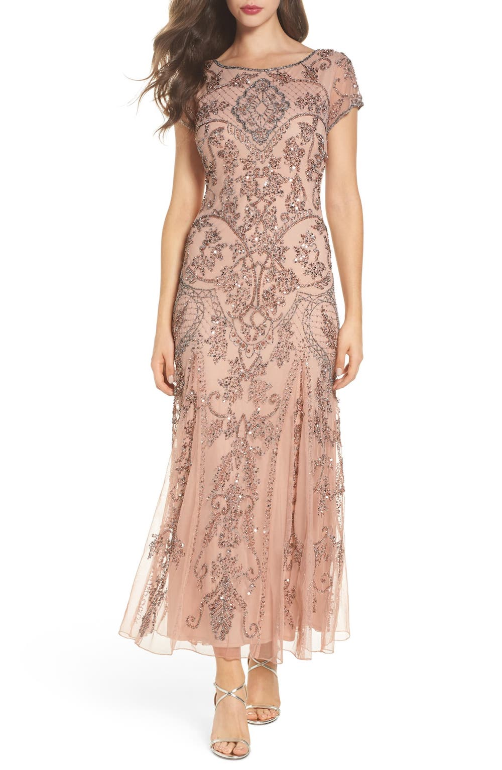 embellished mesh gown by Pisarro Nights