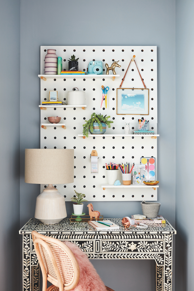 Real Simple Home Kids Desk Area with plants and pegboard