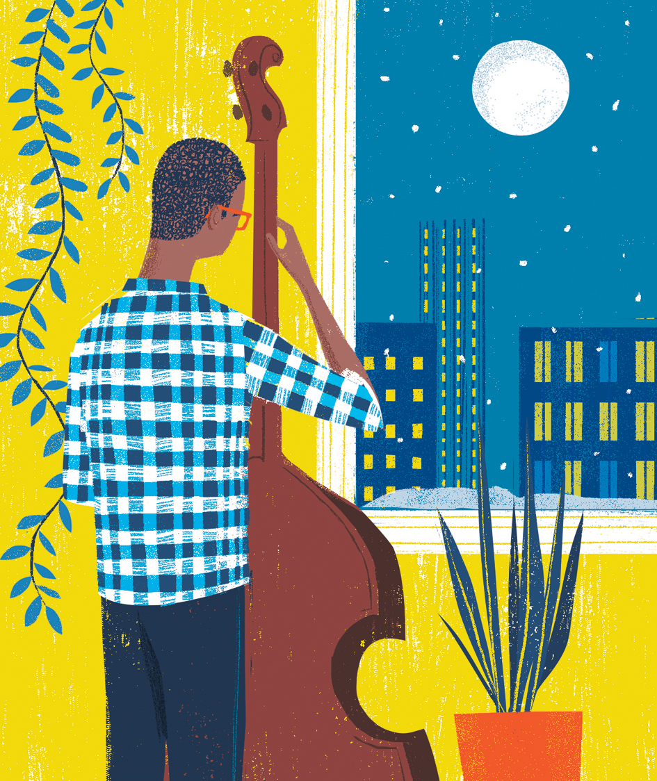 Illustration: Person playing stand up bass