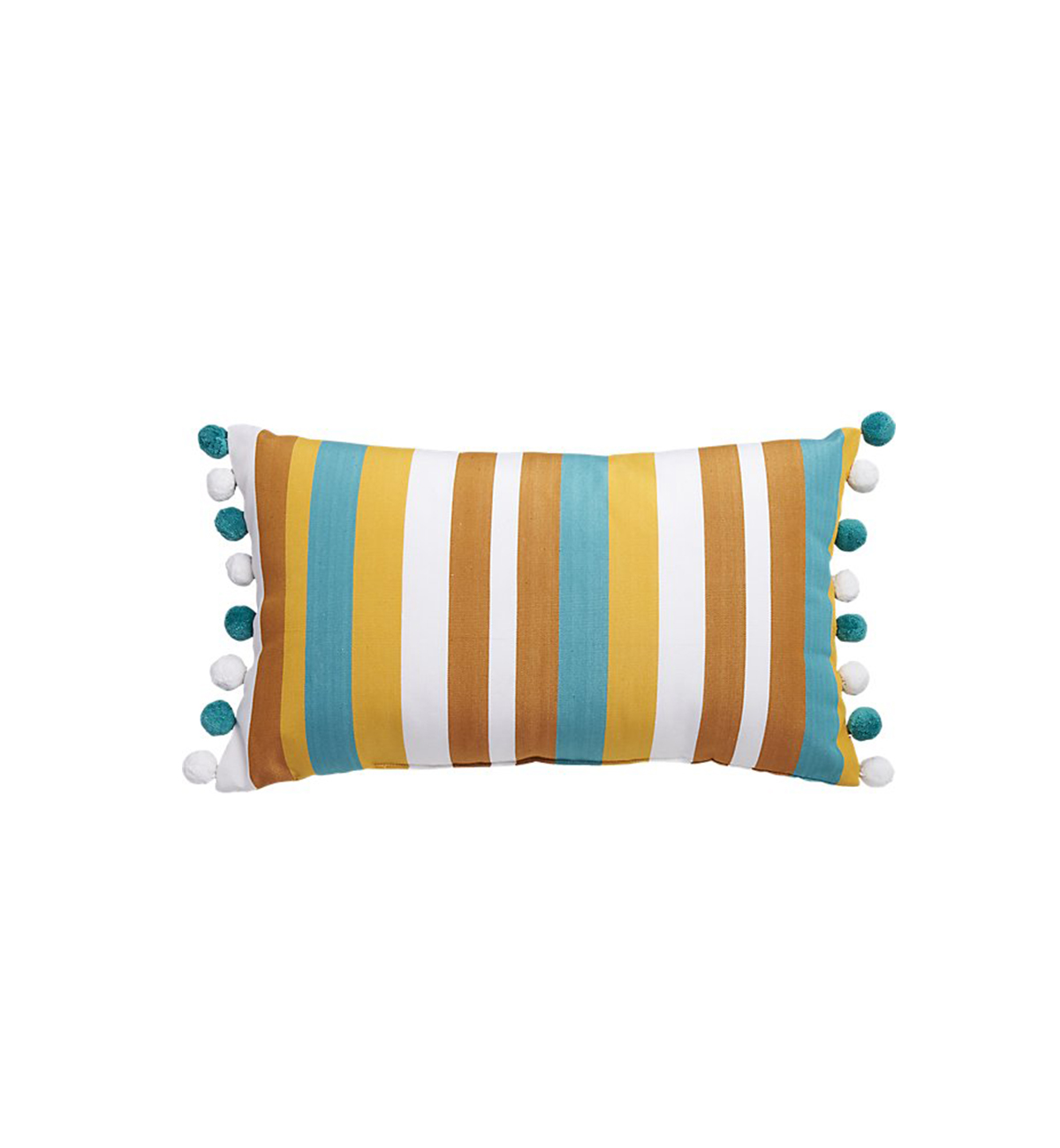 Striped Teal and Copper Pom-Pom Pillow