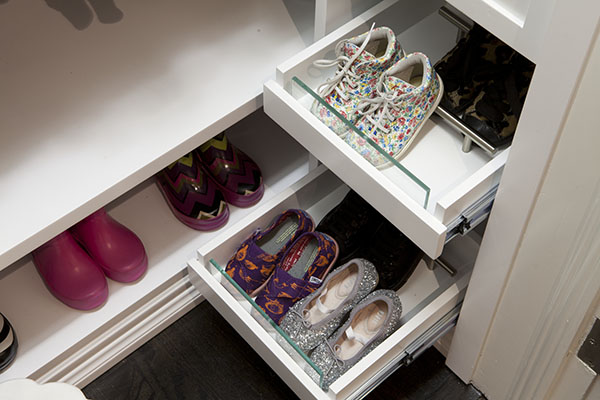 Shoe drawers that are reachable for a child