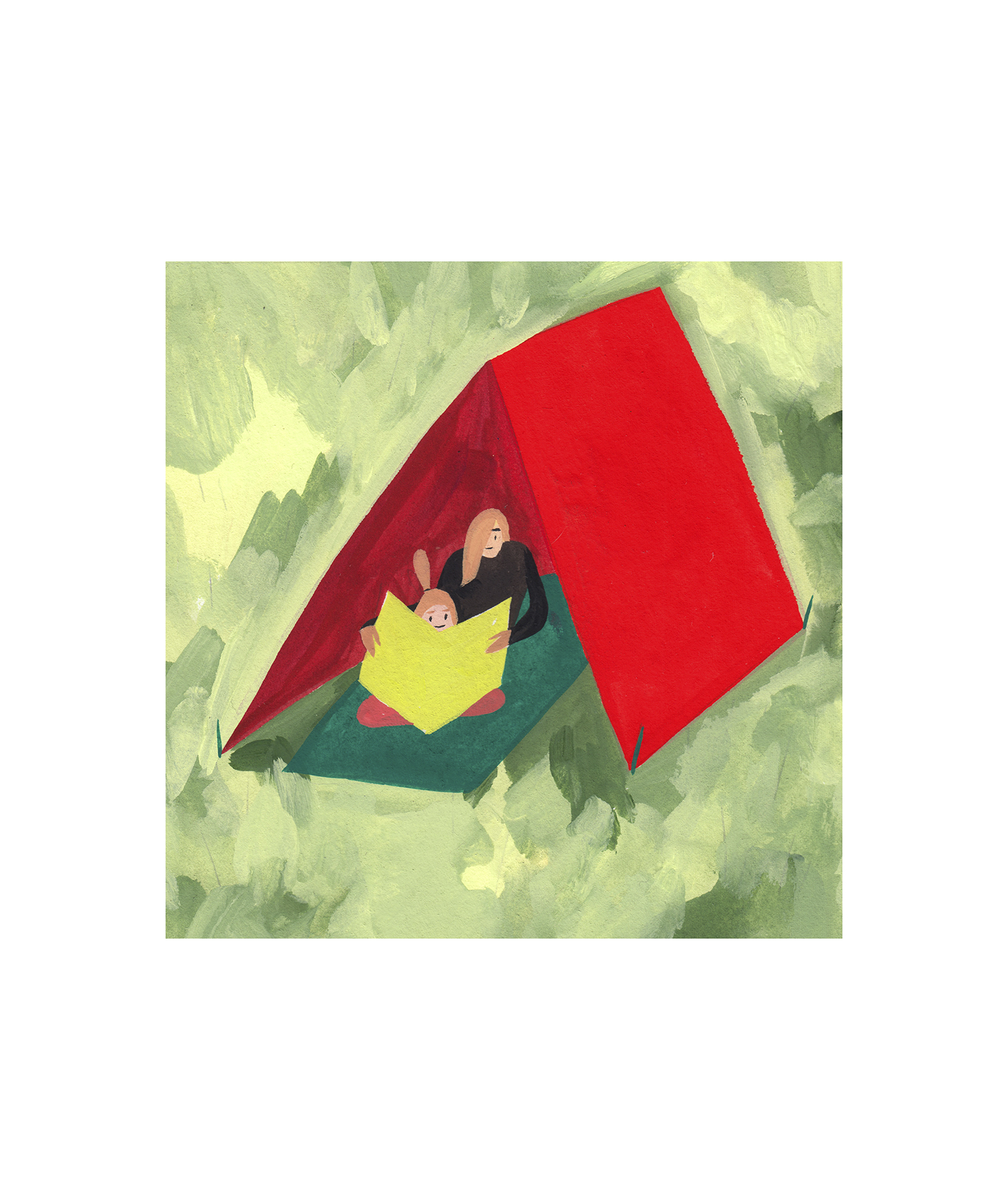 Illustration: Kids reading in a tent