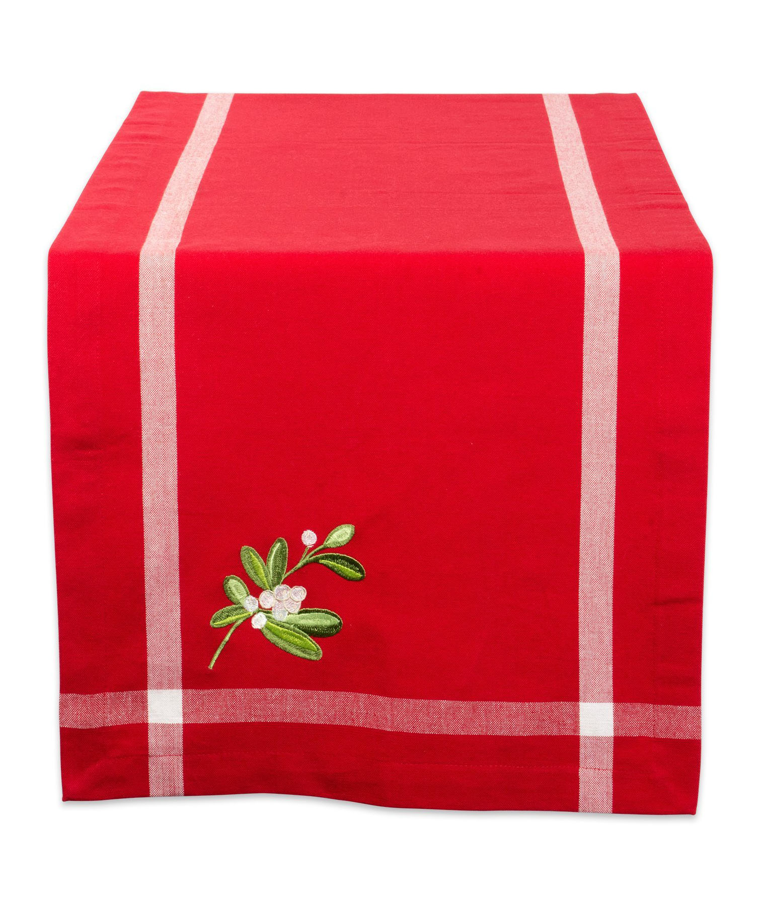 Mistletoe Table Runner red with embroidery