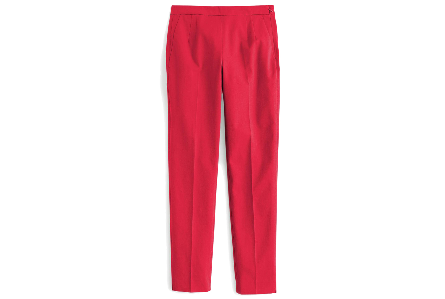 J.Crew Martie Slim Crop Pant in Two-Way Stretch Cotton in red