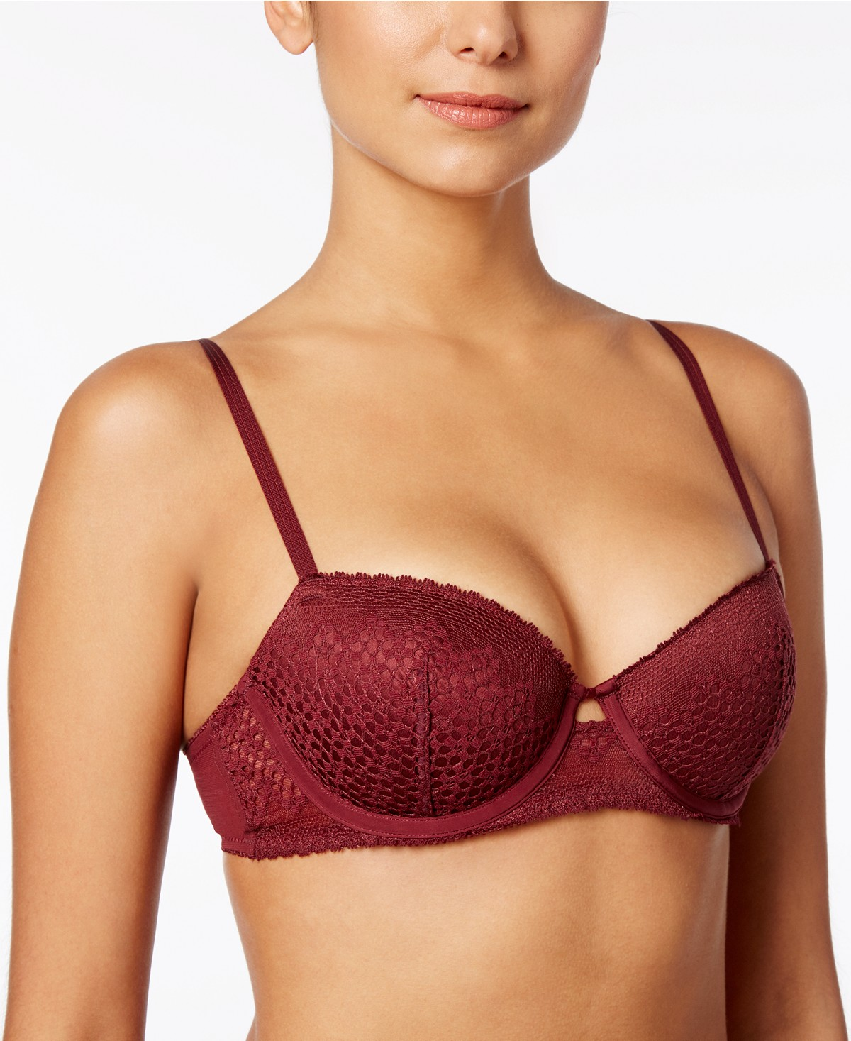 red balconette bra