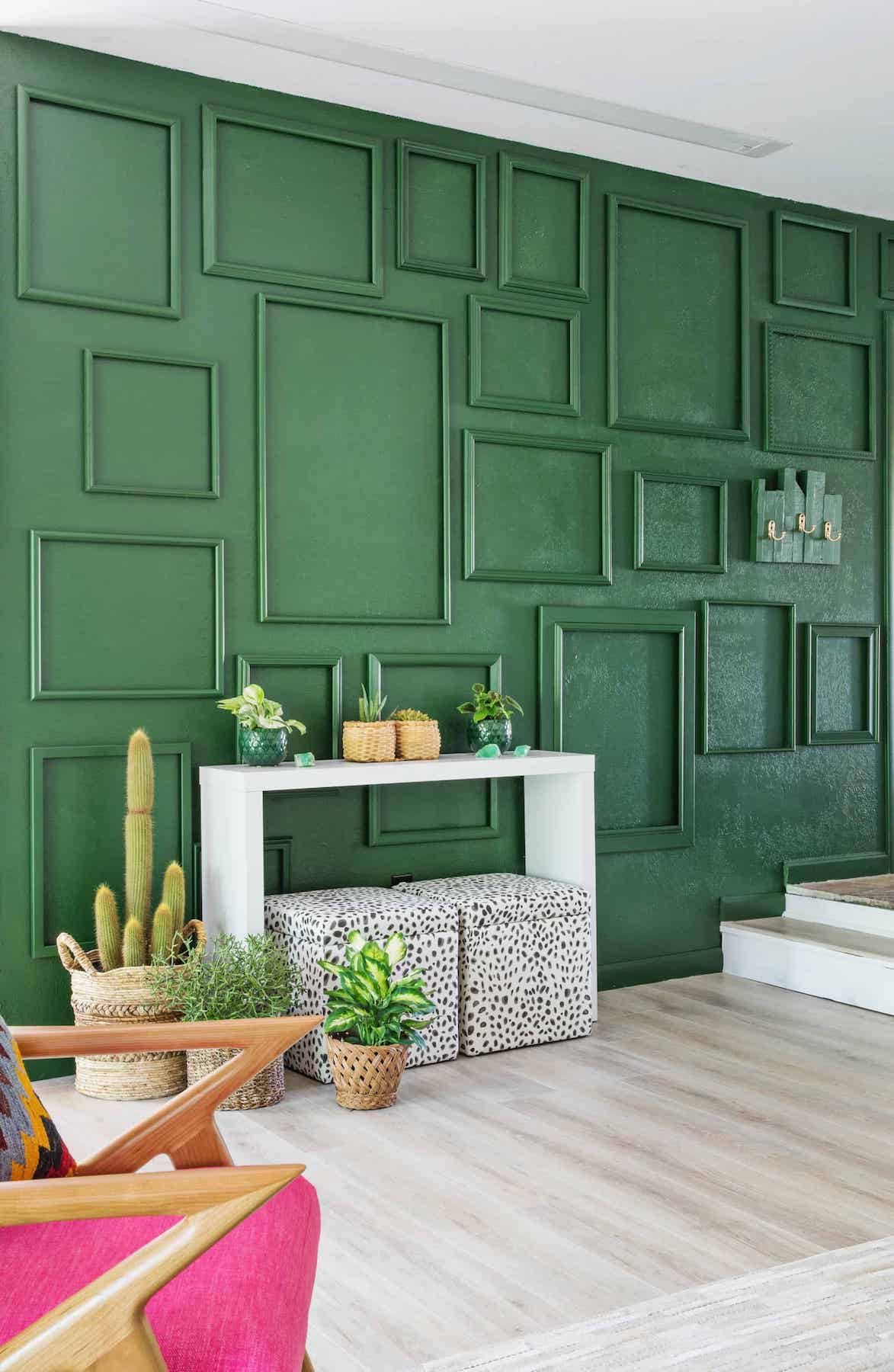 Rental upgrades, green wall with molding