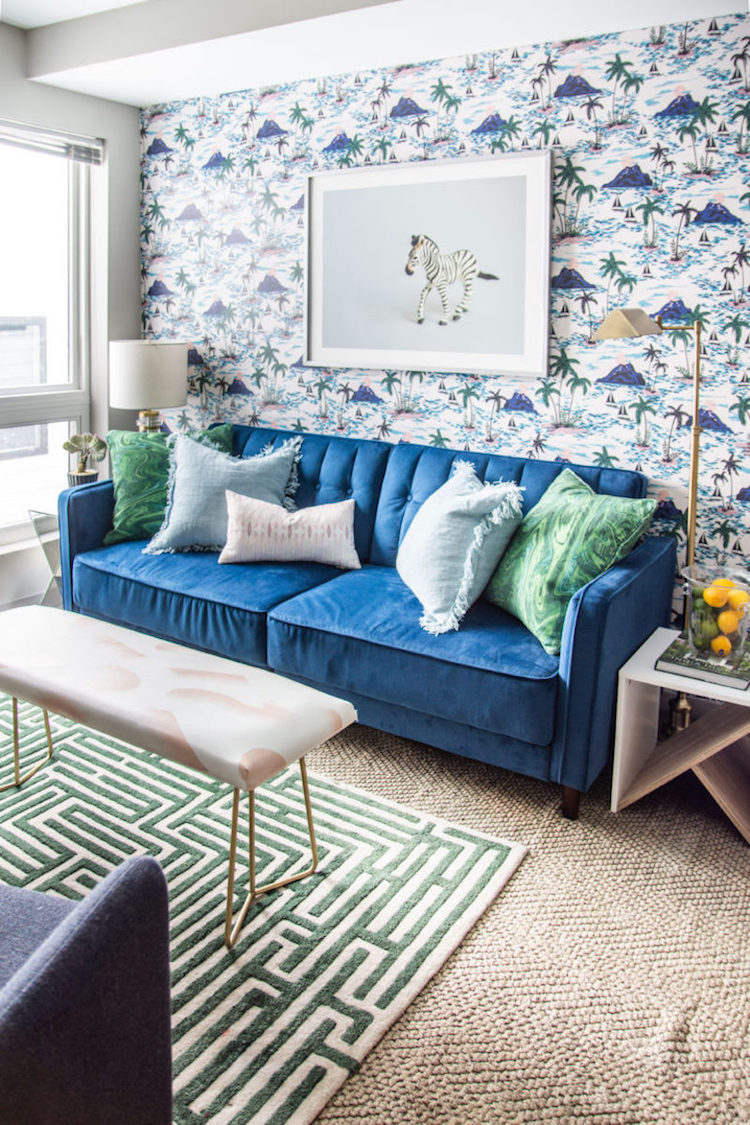 Living room with removable wallpaper