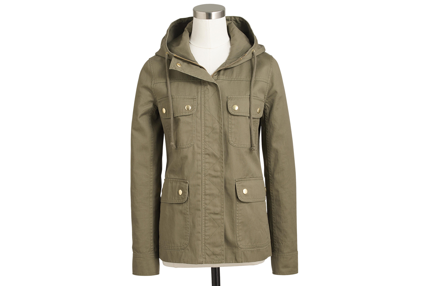 Resin-Coated Twill Jacket With Hood