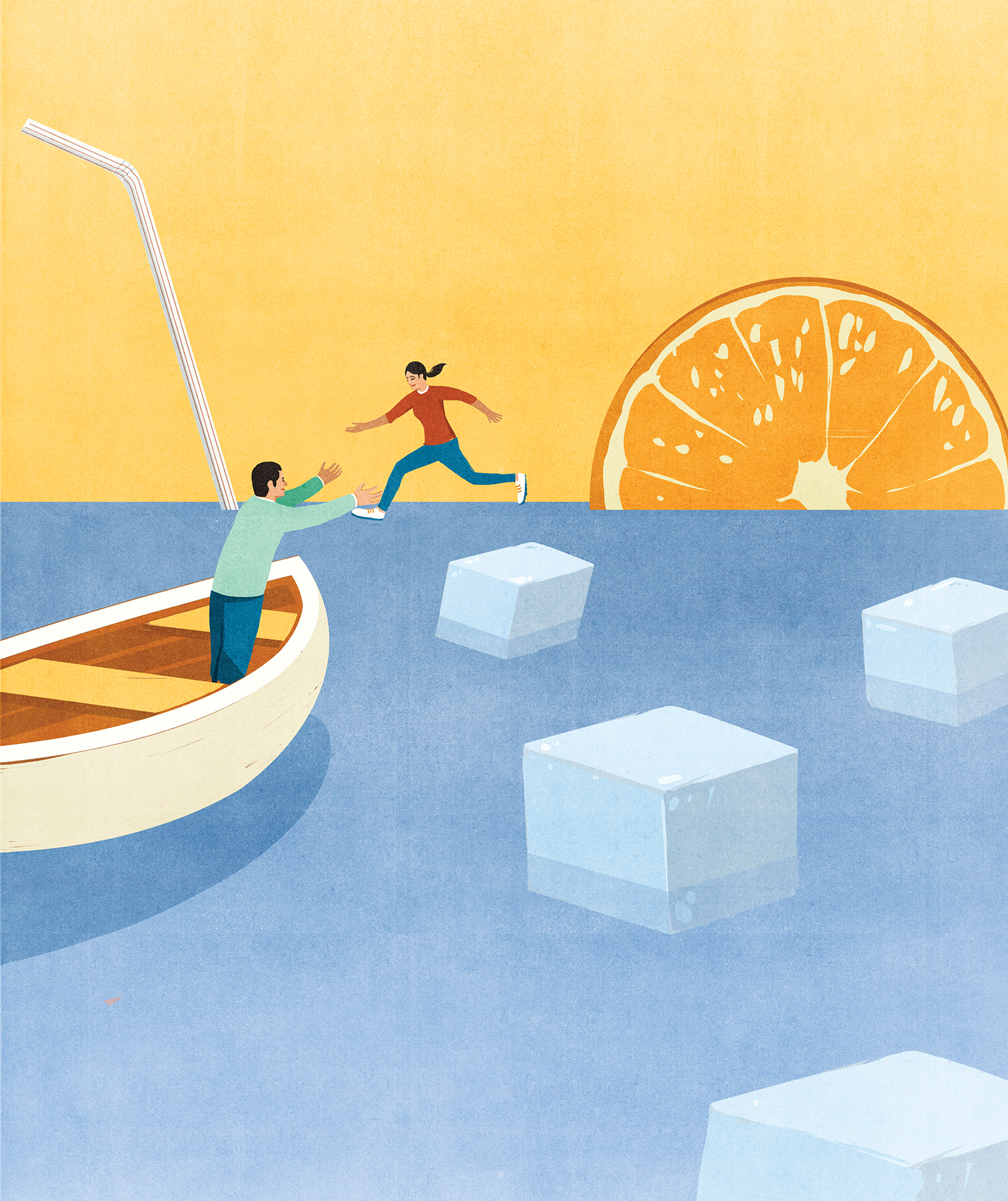 Illustration: Child jumping from floating sugarcube into the arms of parent in boat