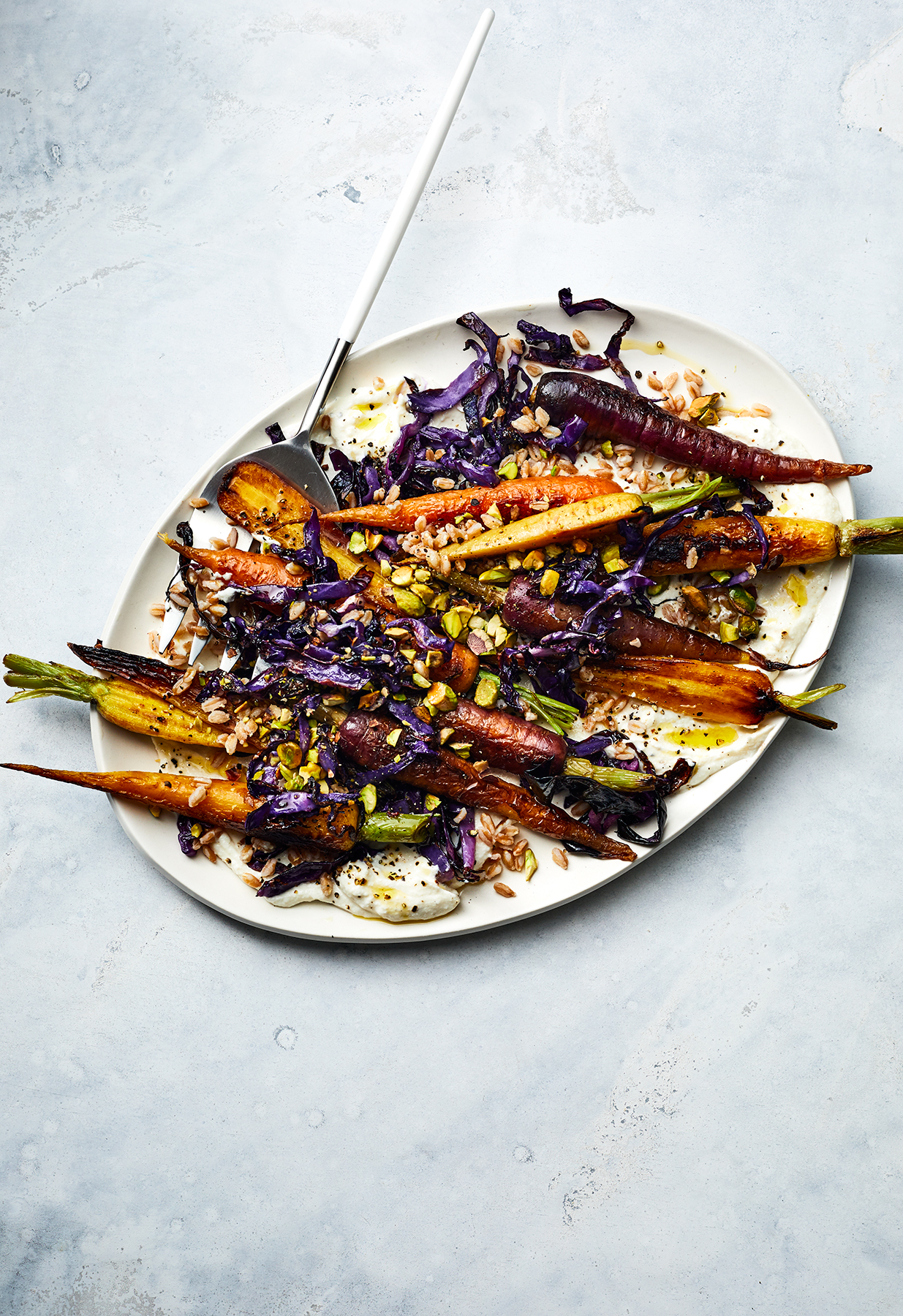Roasted Carrots With Whipped Ricotta, Farro, and Crispy Cabbage