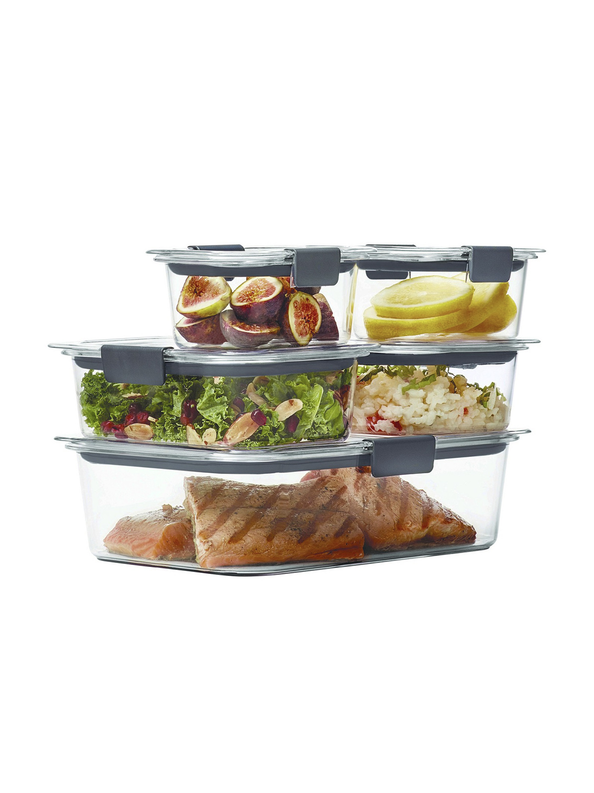 Rubbermaid Food Storage Containers, glass and gray rubber lids