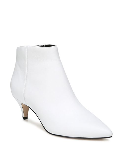 white ankle booties with kitten heel