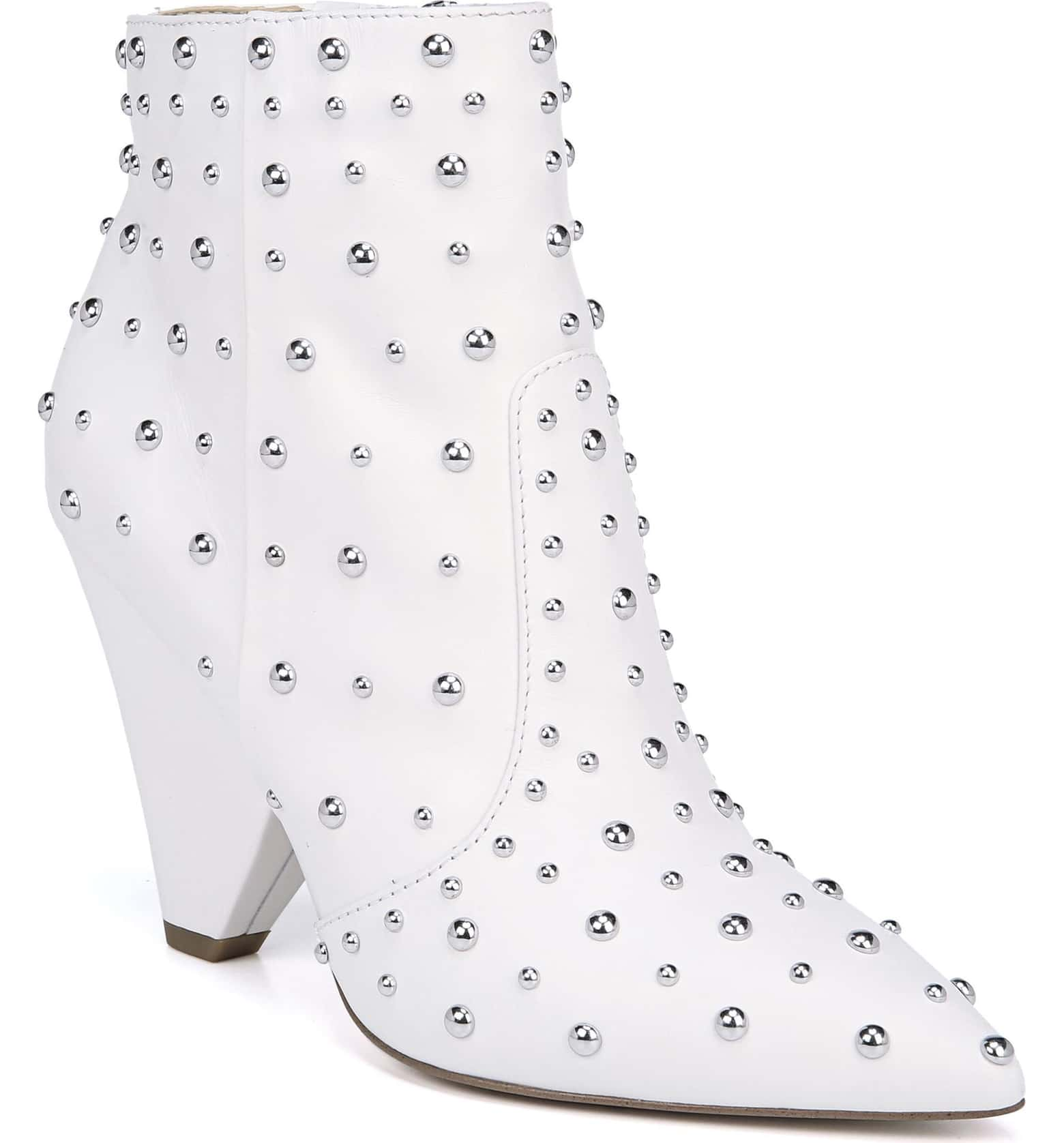 white ankle booties with studs