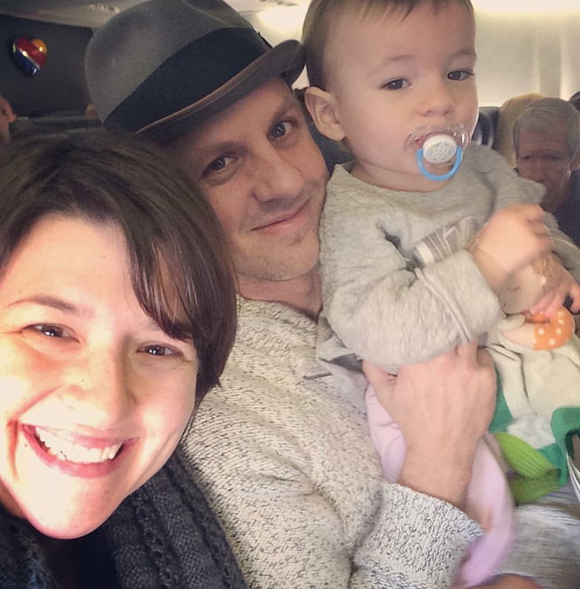 Sara Packard and Family on Plane