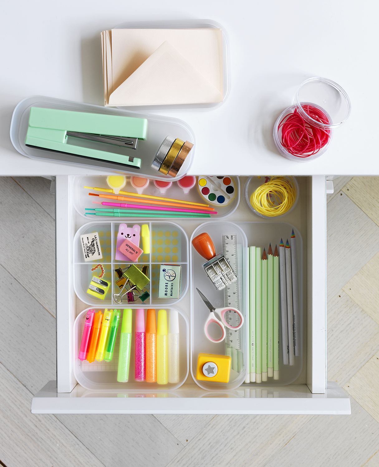School supplies drawer with compartments