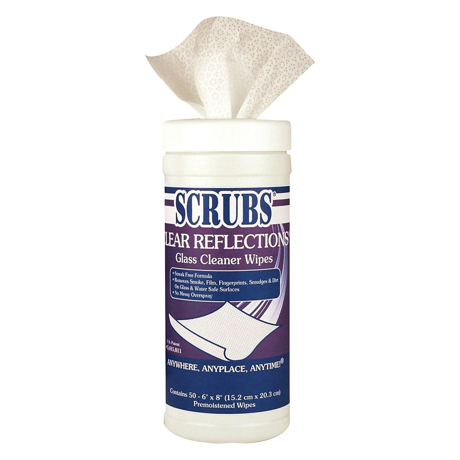 Scrubs Clear Reflections Glass Cleaning Wipes, Floral