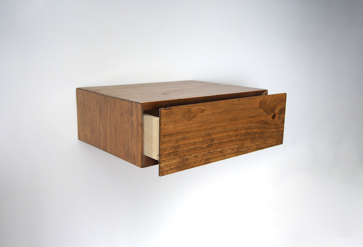 Floating Wooden Nightstand with a Hidden Drawer