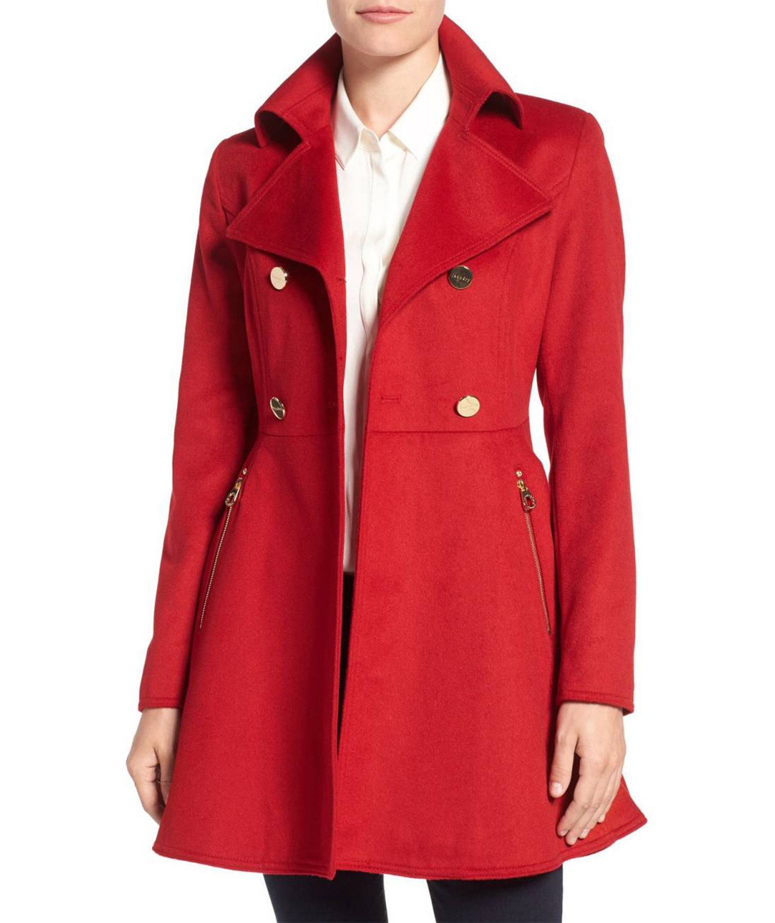 Laundry by Shelli Segal Fit and Flare Coat, in Red Dahlia