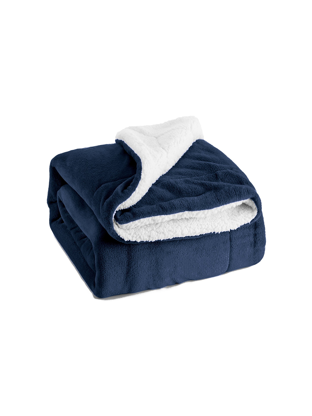 Sherpa-lined navy throw blanket