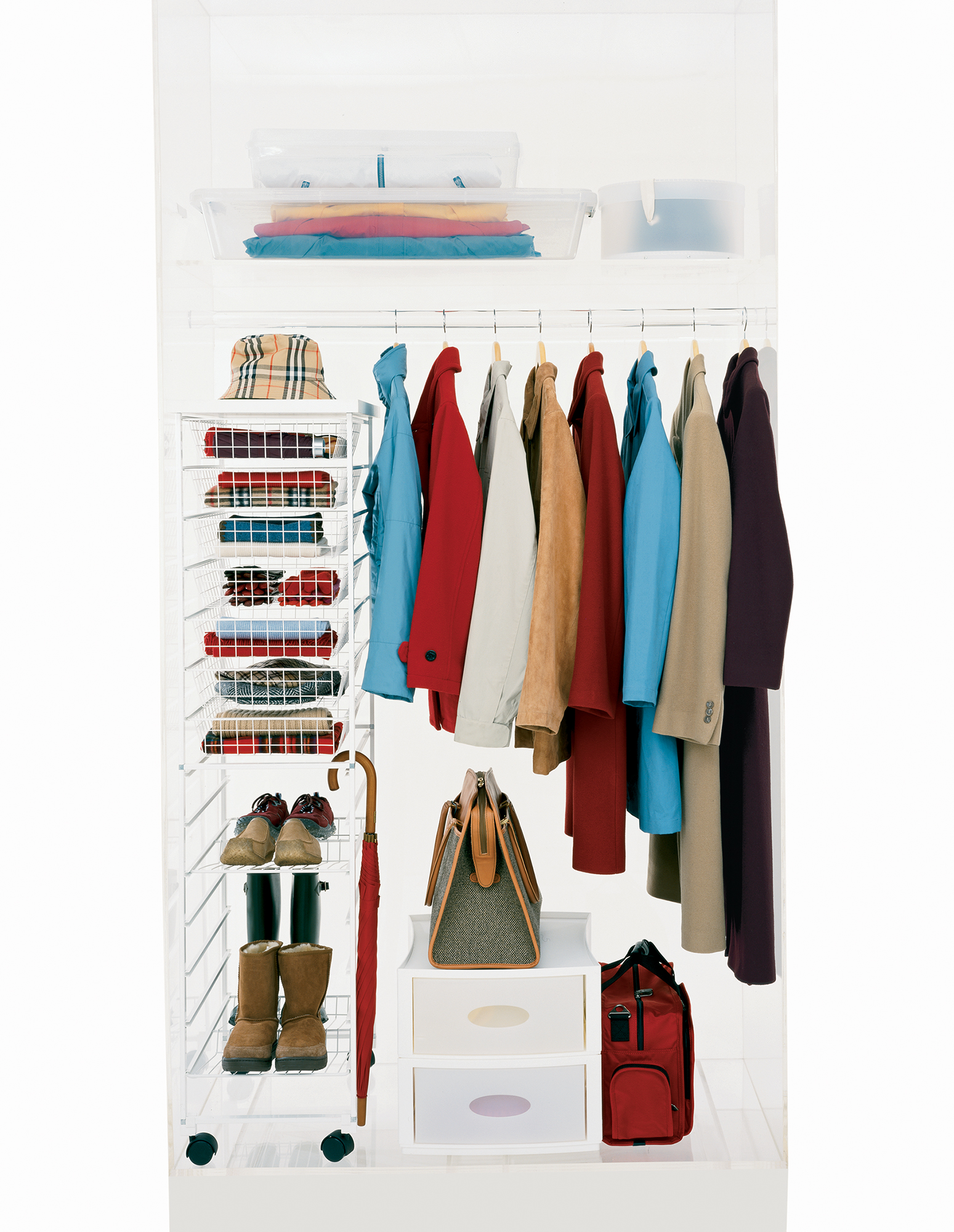 Coat closet with clothes short to long