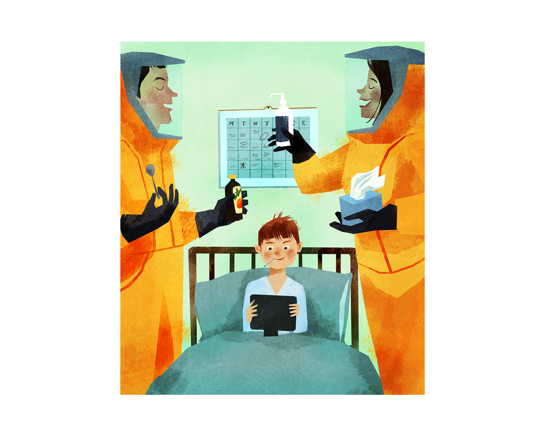 Illustration: Sick kid in bed with iPad, parents in hazmat suits taking care of him