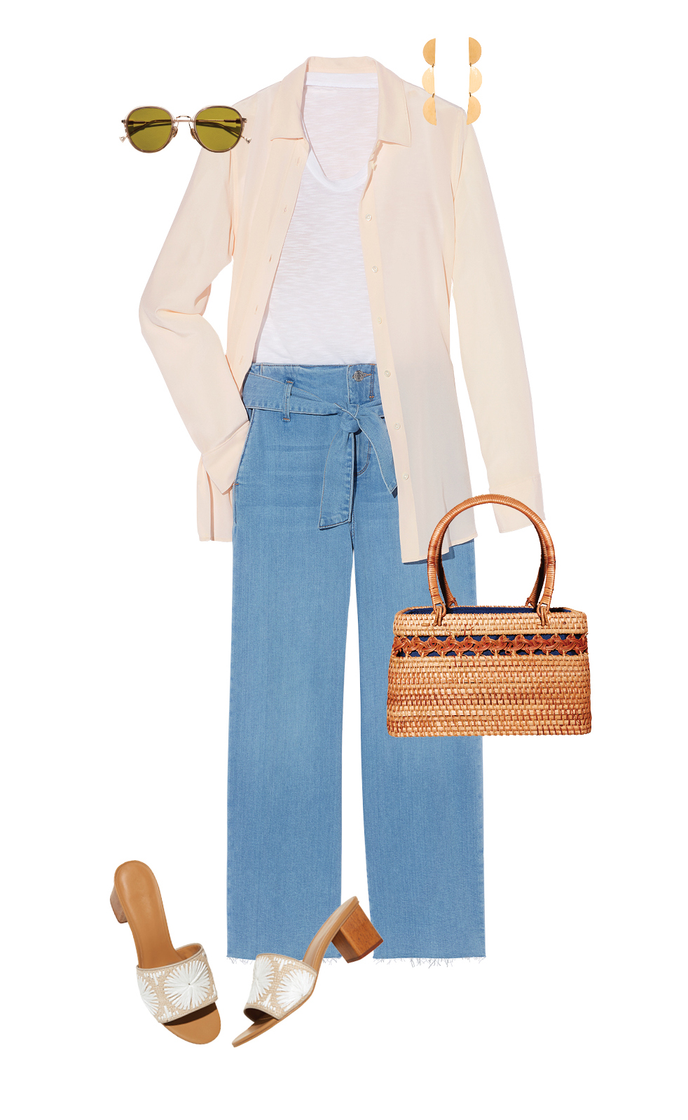 Silk Blouse, Jeans, and Mules