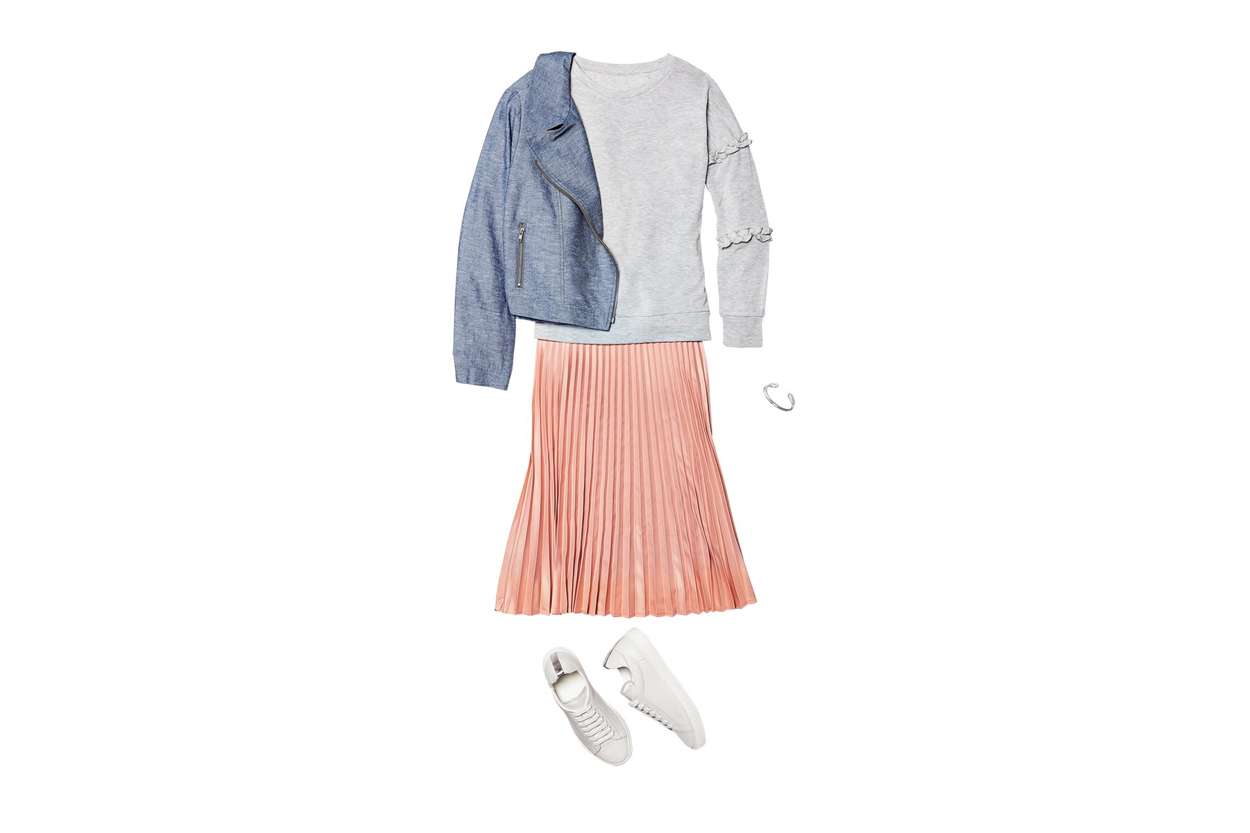 Midi Skirt + Sneakers + Sweatshirt