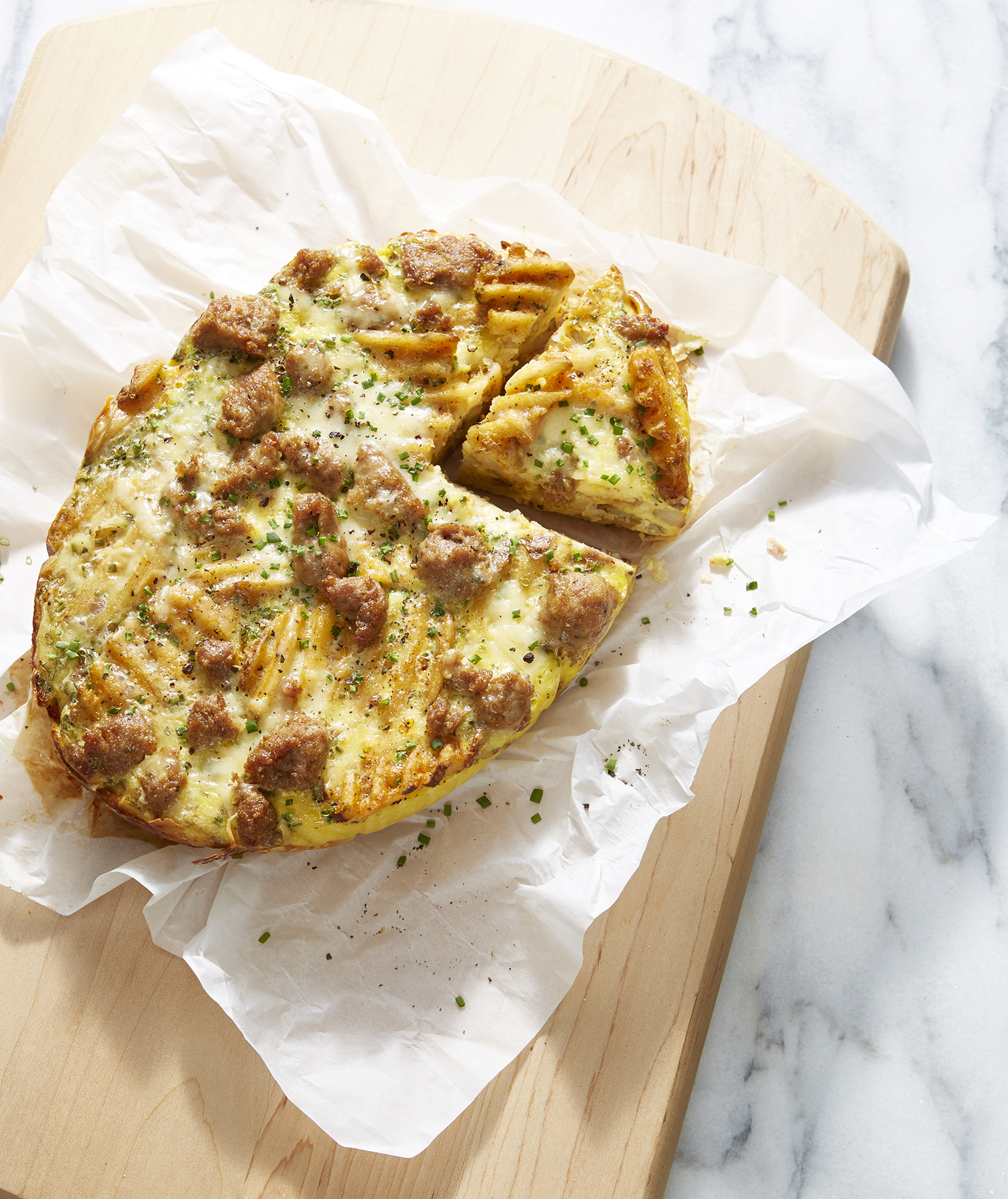 Sausage, Egg, and Cheese Hashbrown Frittata