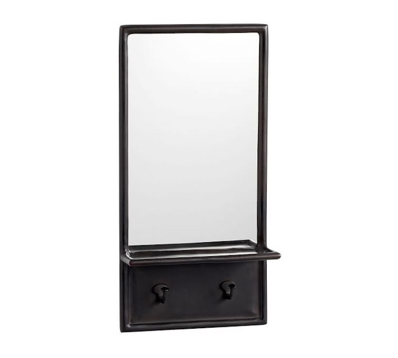 Entryway mirror with hooks and shelves