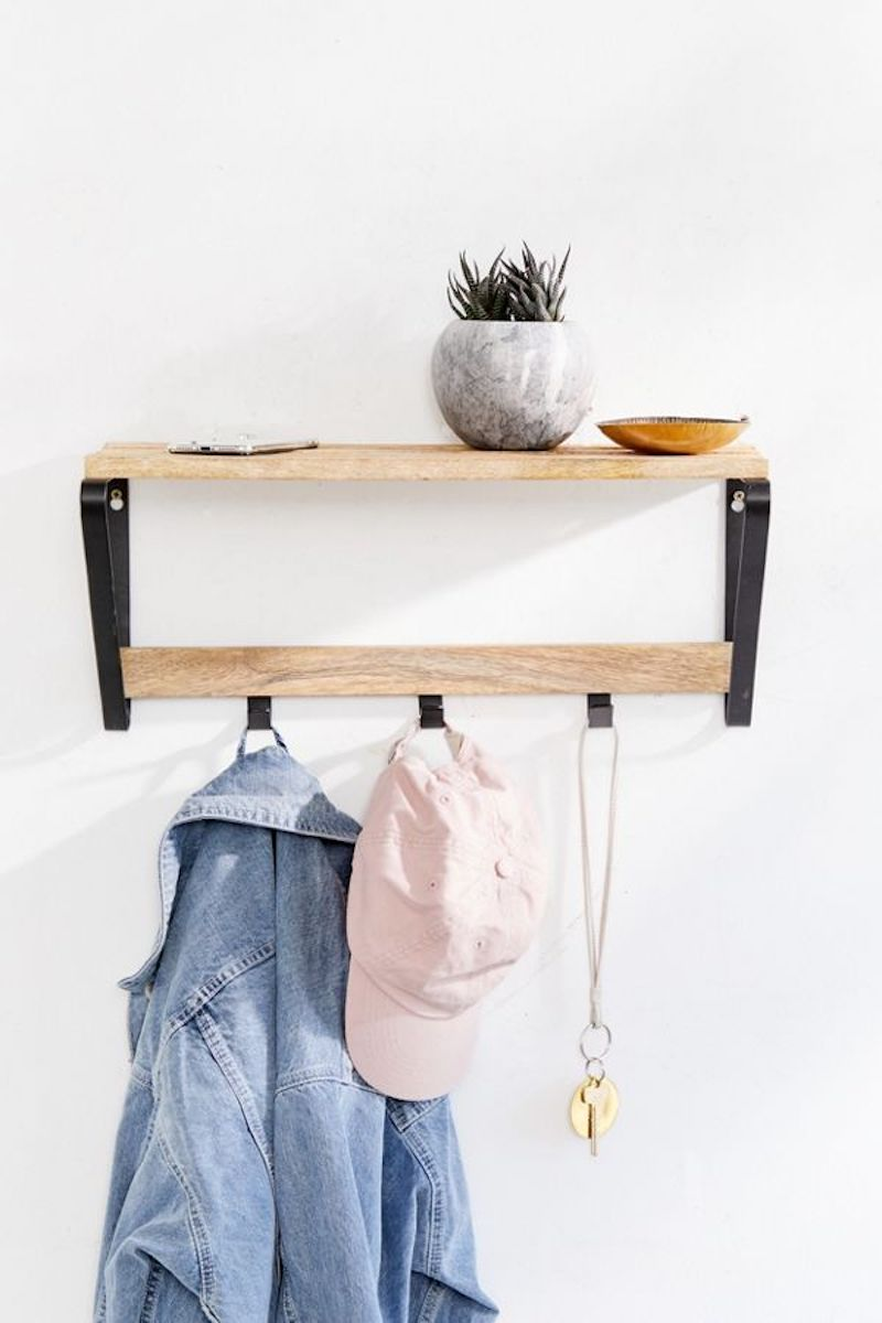 Entryway wall shelf in wood and metal with hooks