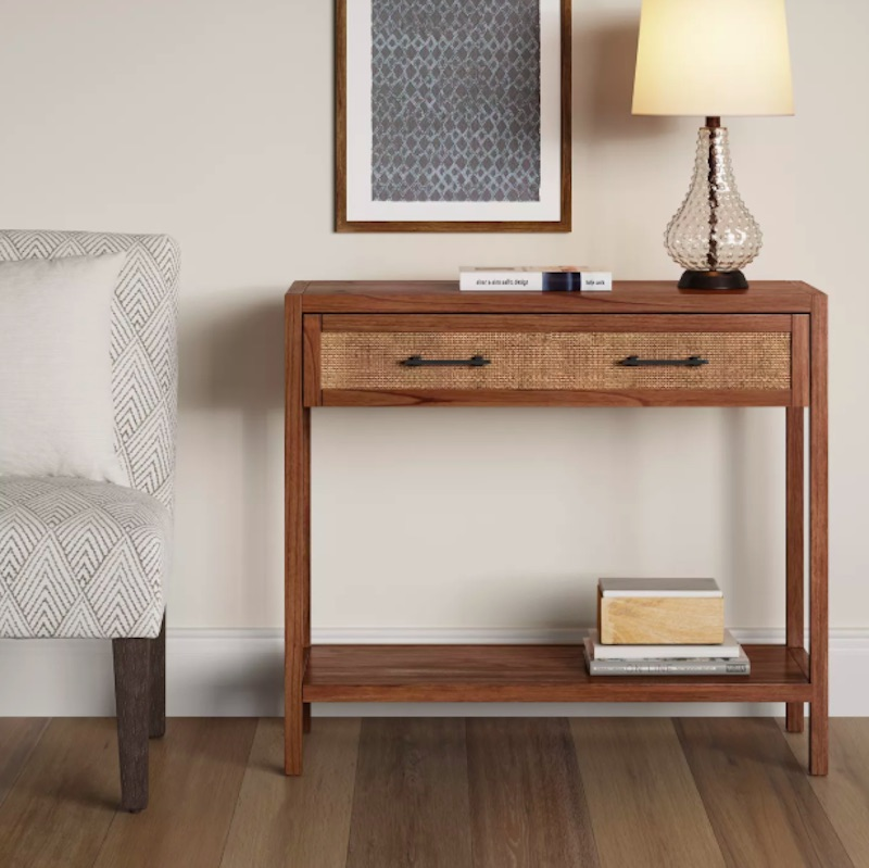 Small Entryway Rattan Console Table