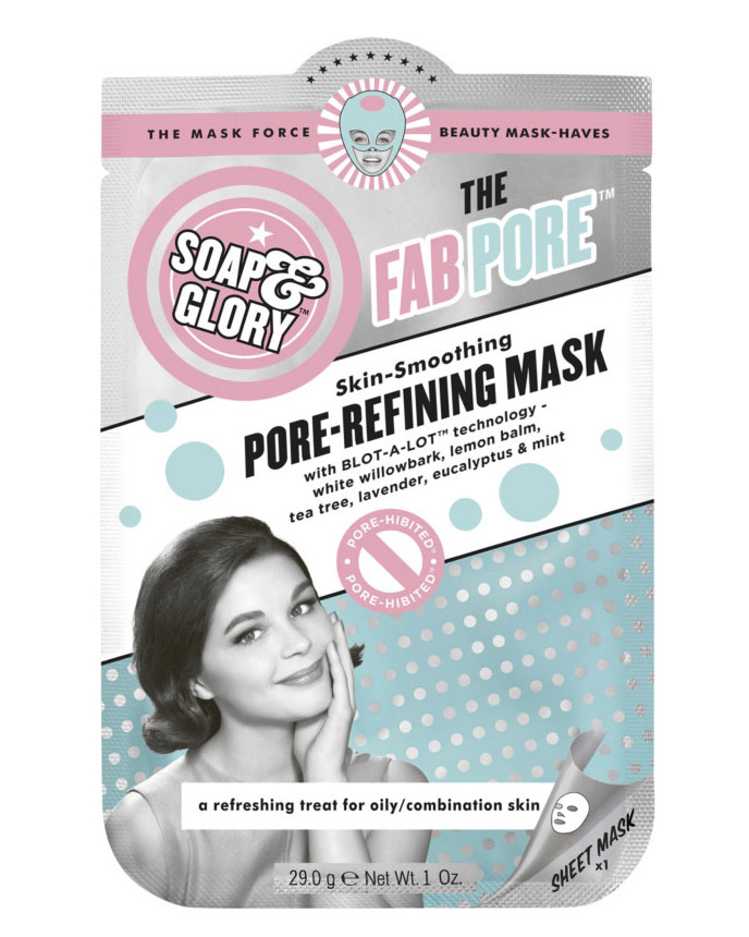 Best Sheet Mask for Large Pores: Soap & Glory The Fab Pore Skin-Smoothing Pore-Refining Mask