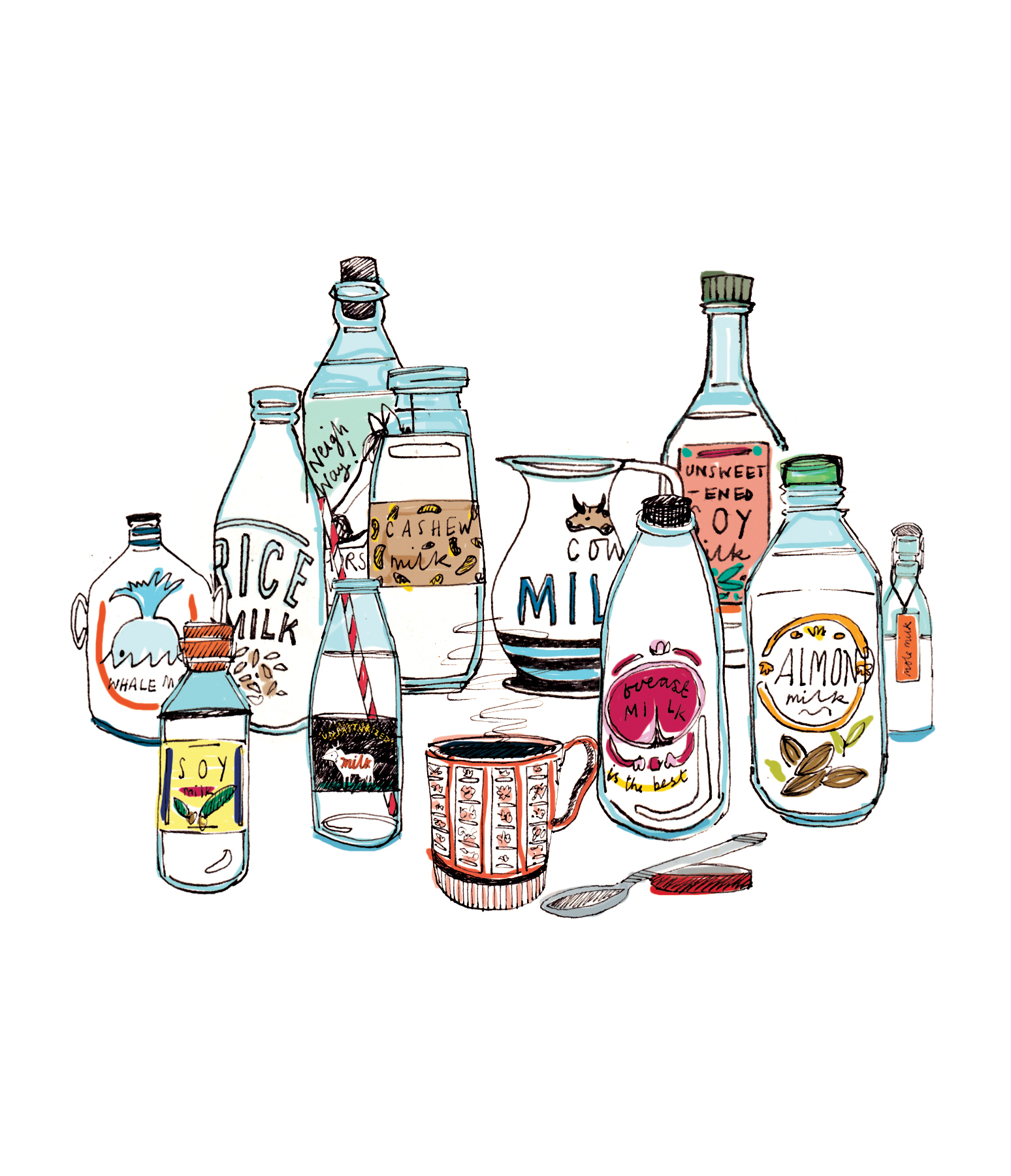 Illustration: Variety of milks