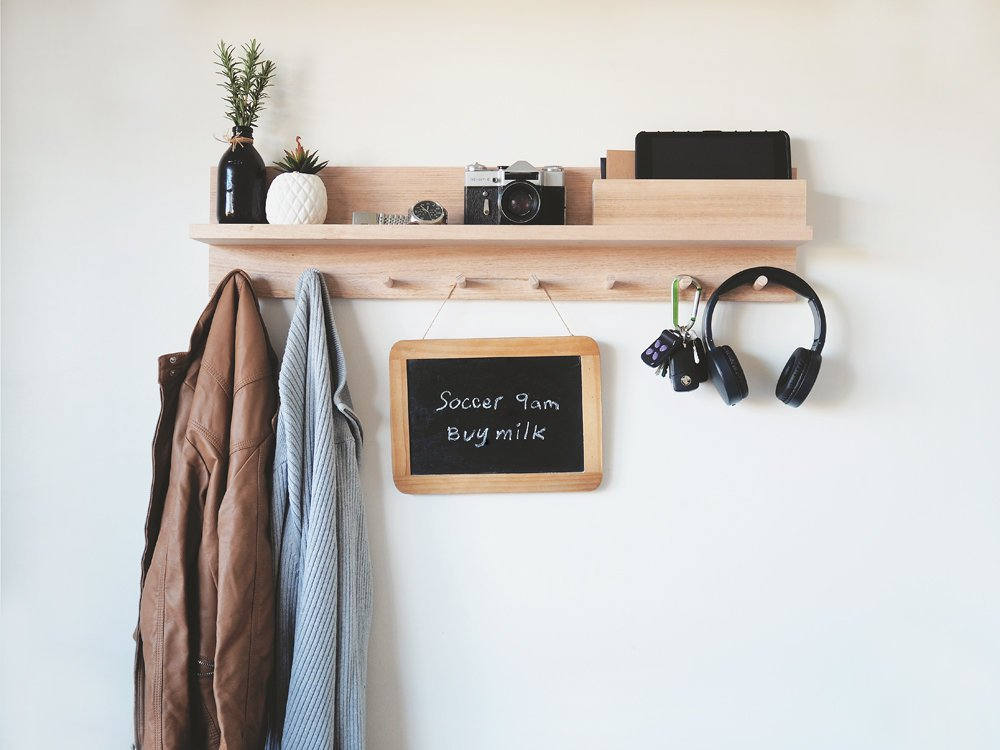 A Wooden Entryway Organizer for Scarves, Headphones, and Reminders