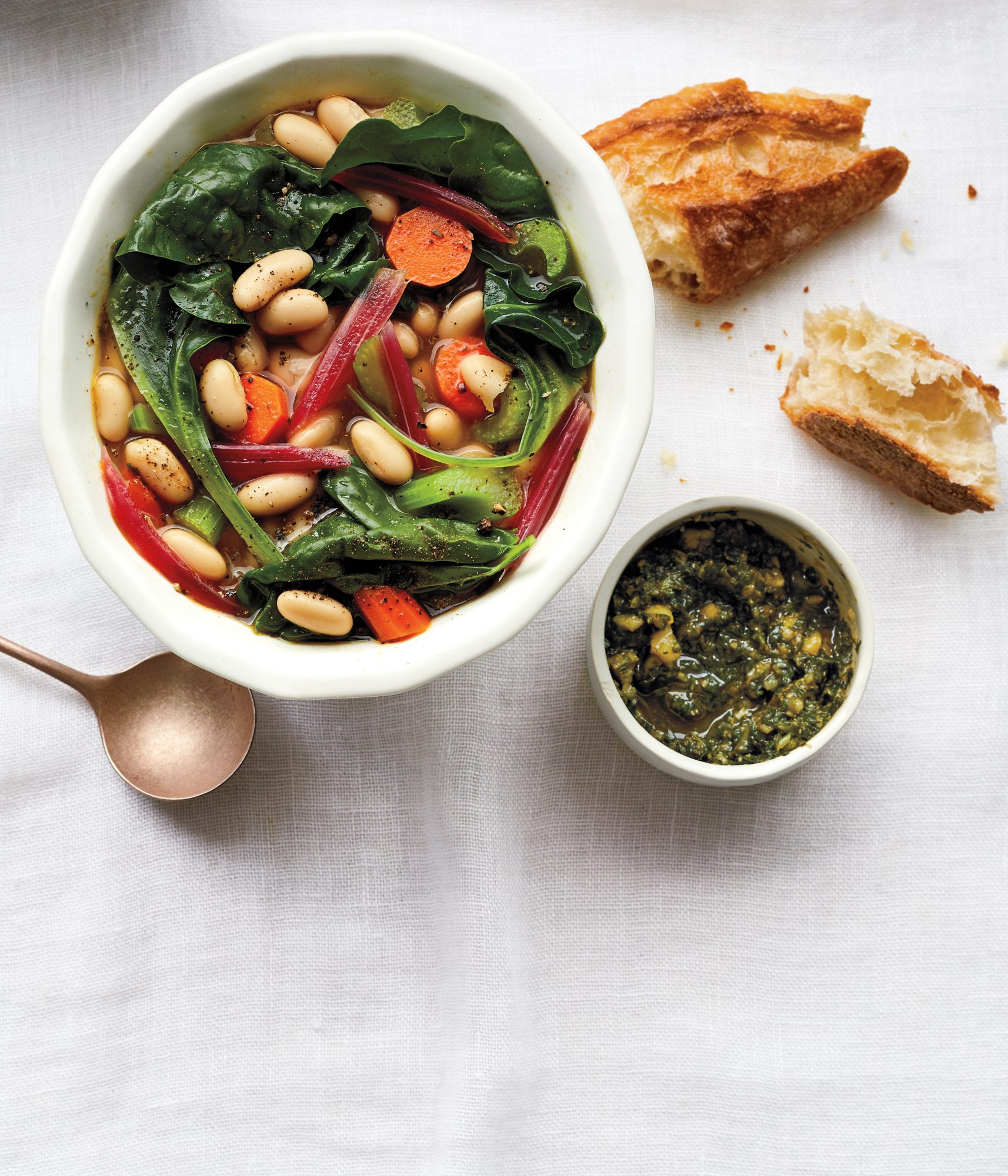 Spring Bean-and-Chard Soup With Toasted Almond Pesto