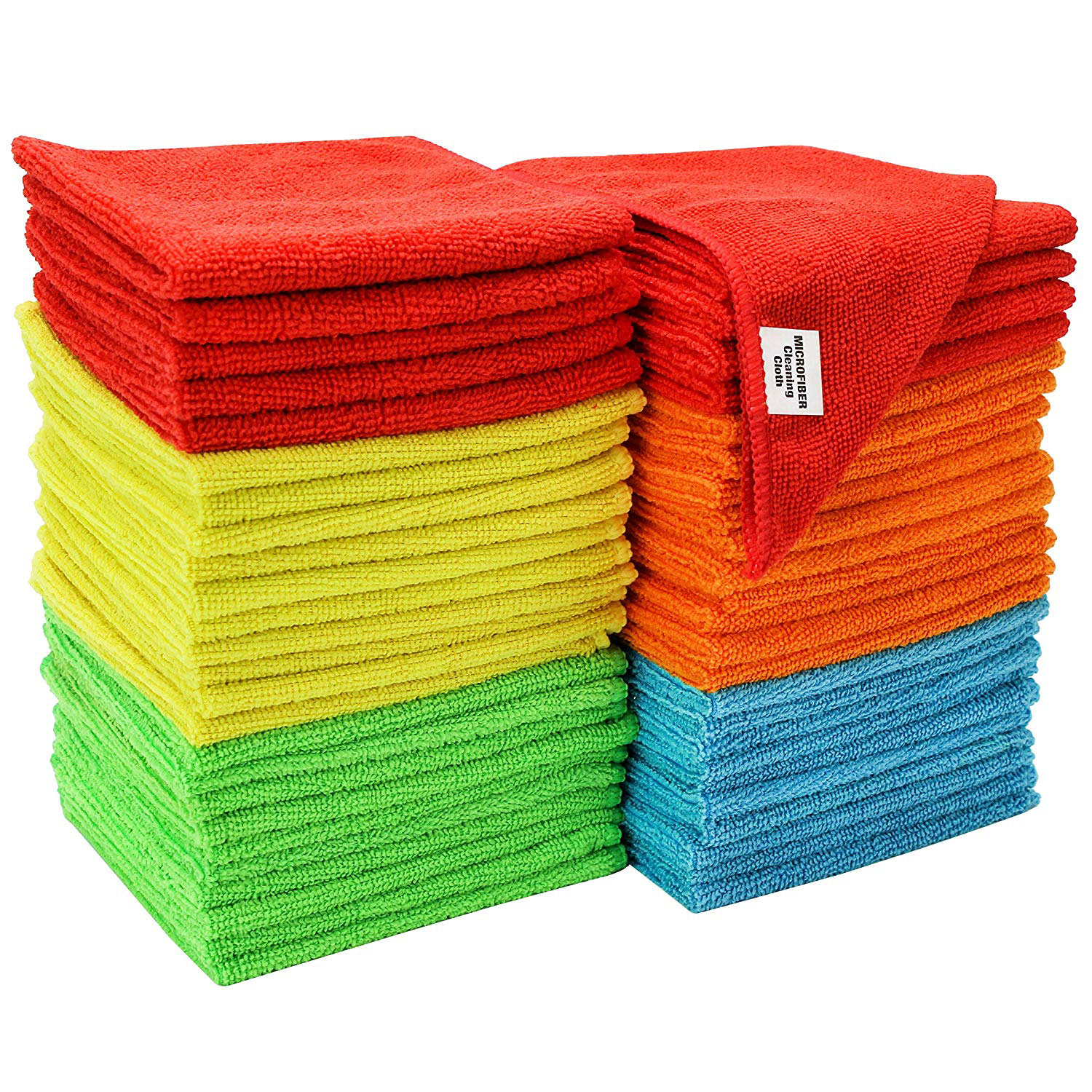 S&T INC. 968601 Assorted 50 Pack Microfiber Cleaning Cloths