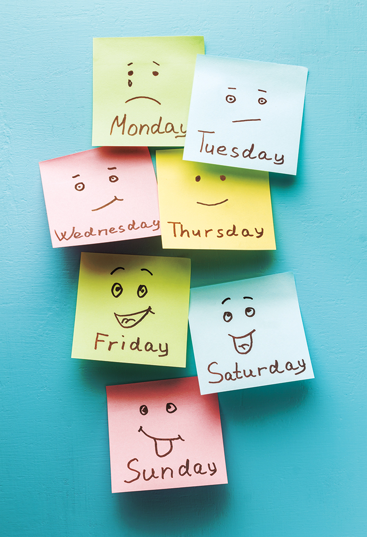 days of the week faces on sticky notes