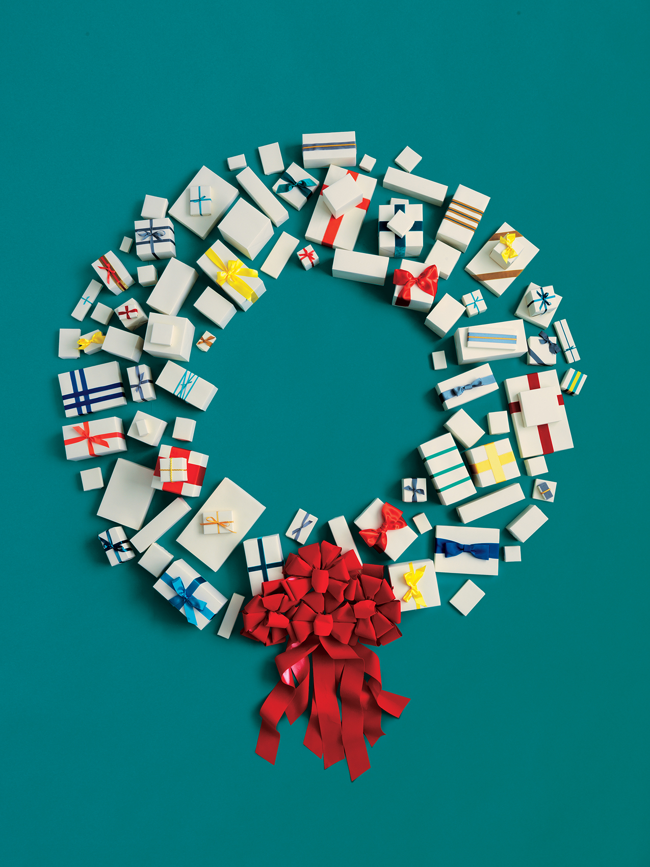 Still Life of Assorted Presents Forming a Wreath
