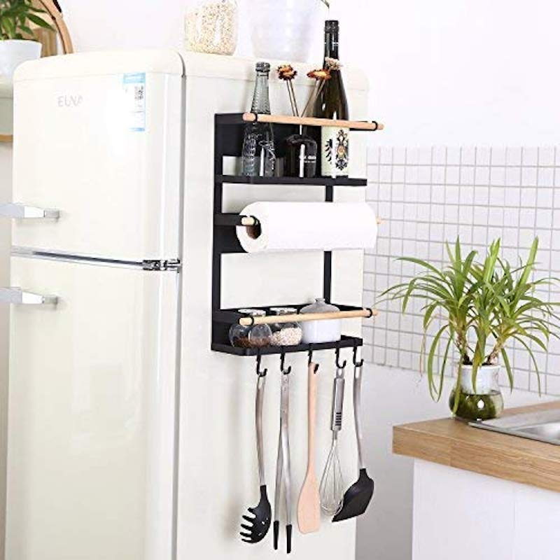 Storage Ideas for Small Spaces, magnetic fridge organizer in kitchen