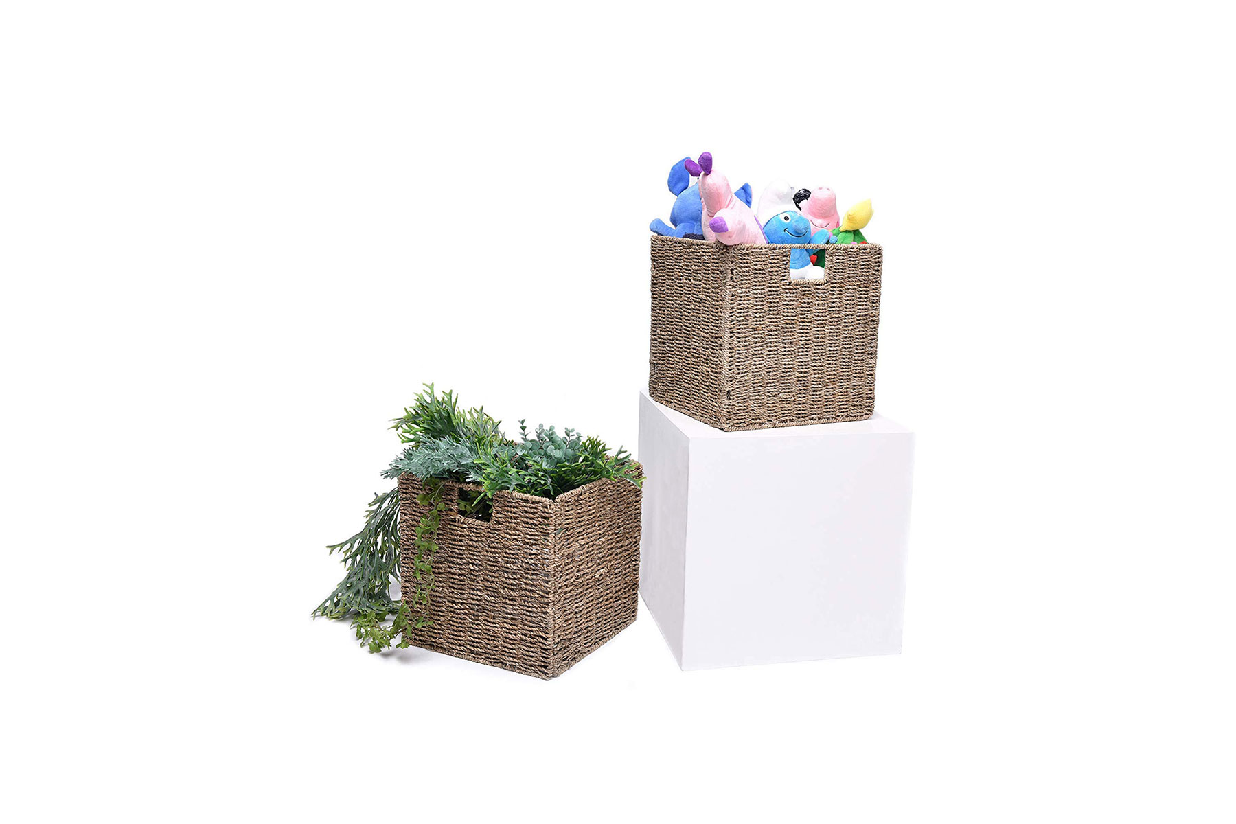 Storage Works Foldable Wicker Storage Basket (2 Pack)